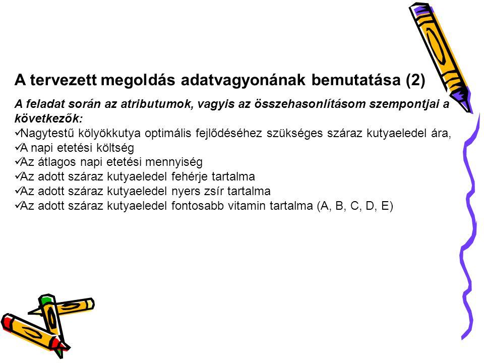 A tervezett megoldás adatvagyonának bemutatása (2)