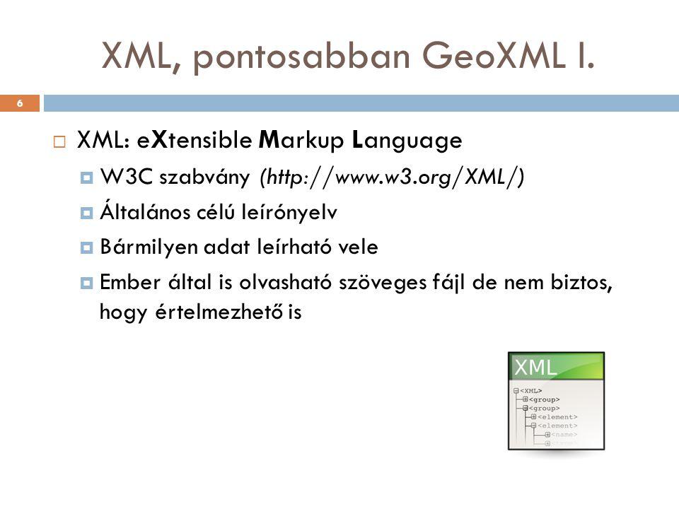 XML, pontosabban GeoXML I.