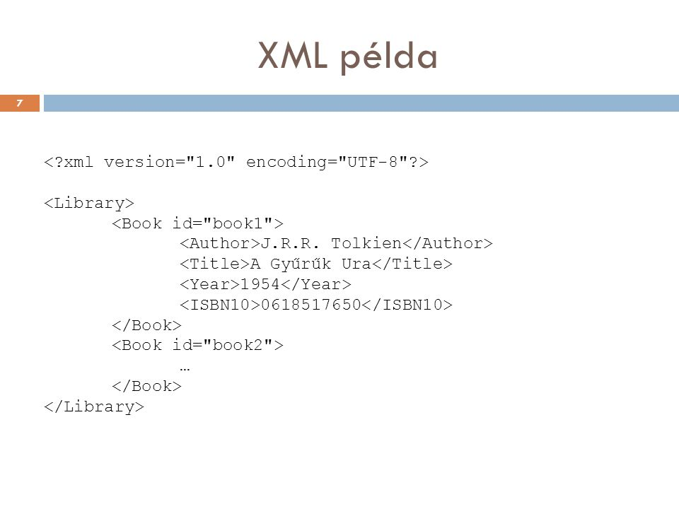 XML példa < xml version= 1.0 encoding= UTF-8 > <Library>
