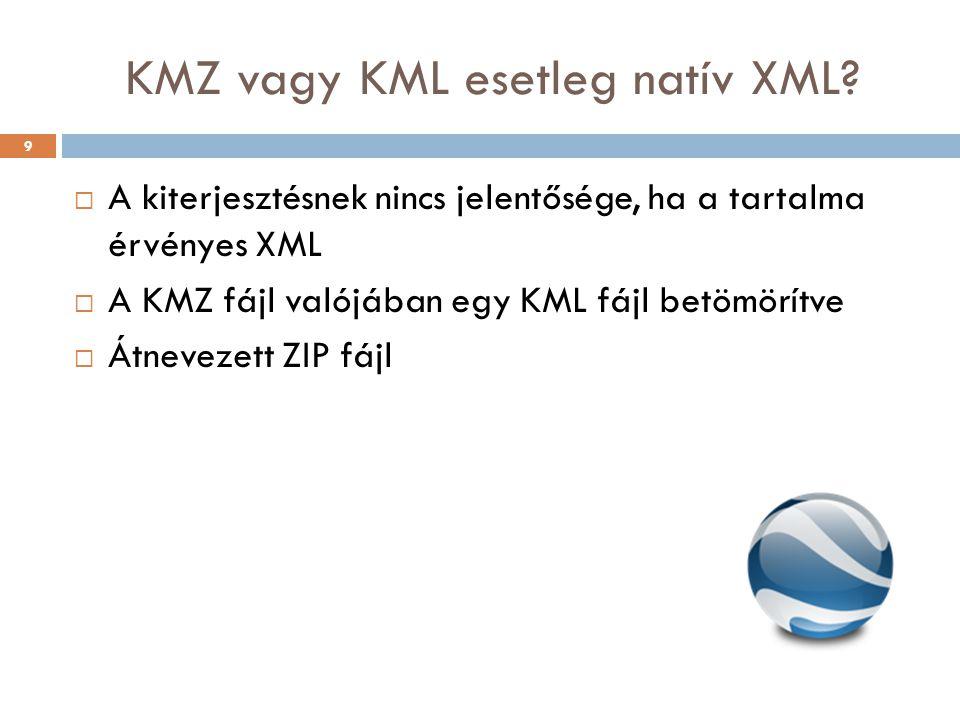 KMZ vagy KML esetleg natív XML