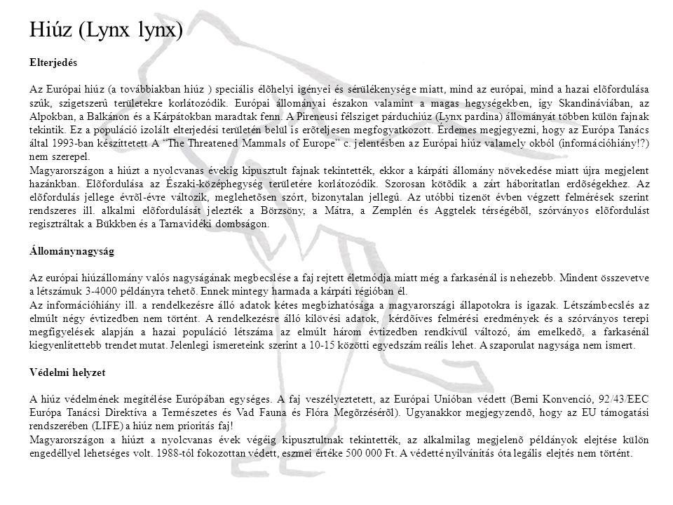 Hiúz (Lynx lynx) Elterjedés