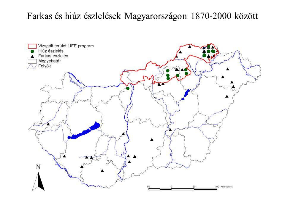 Farkas és hiúz észlelések Magyarországon 1870-2000 között