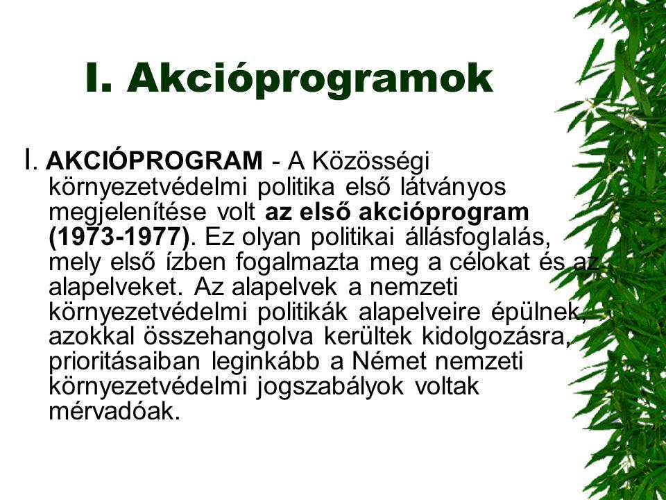 I. Akcióprogramok