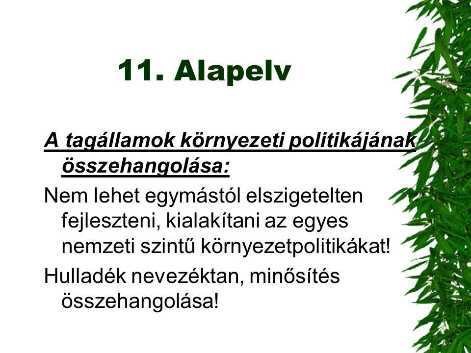 11. Alapelv A tagállamok környezeti politikájának összehangolása: