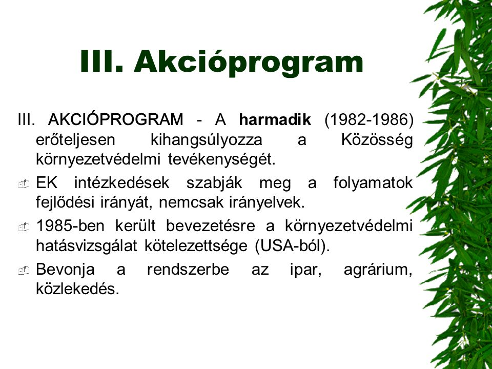 III. Akcióprogram III. AKCIÓPROGRAM - A harmadik (1982-1986) erőteljesen kihangsúlyozza a Közösség környezetvédelmi tevékenységét.