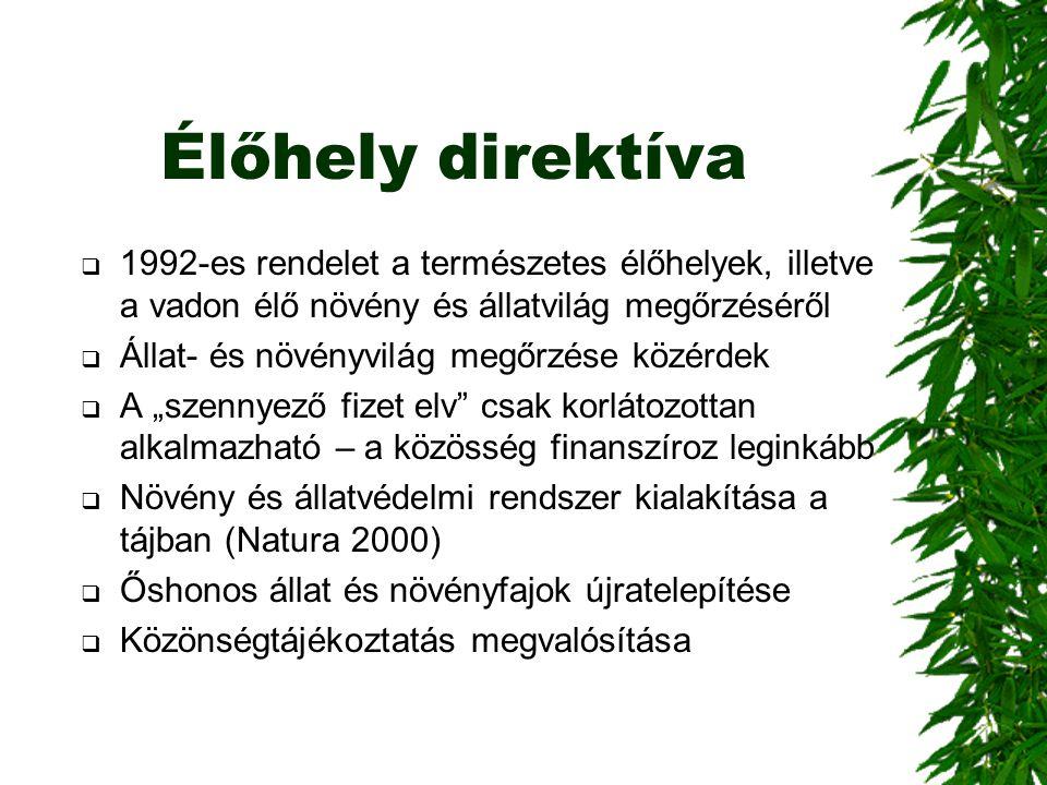 Élőhely direktíva 1992-es rendelet a természetes élőhelyek, illetve a vadon élő növény és állatvilág megőrzéséről.