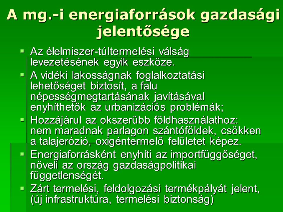 A mg.-i energiaforrások gazdasági jelentősége