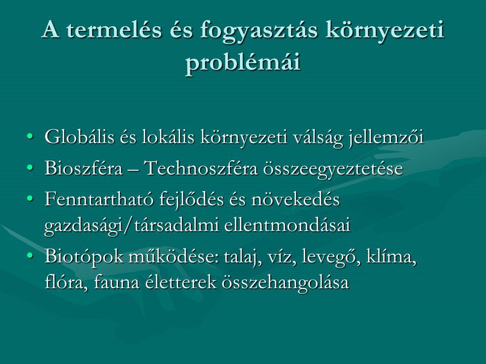 A termelés és fogyasztás környezeti problémái