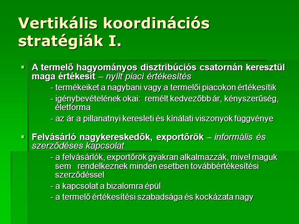 Vertikális koordinációs stratégiák I.