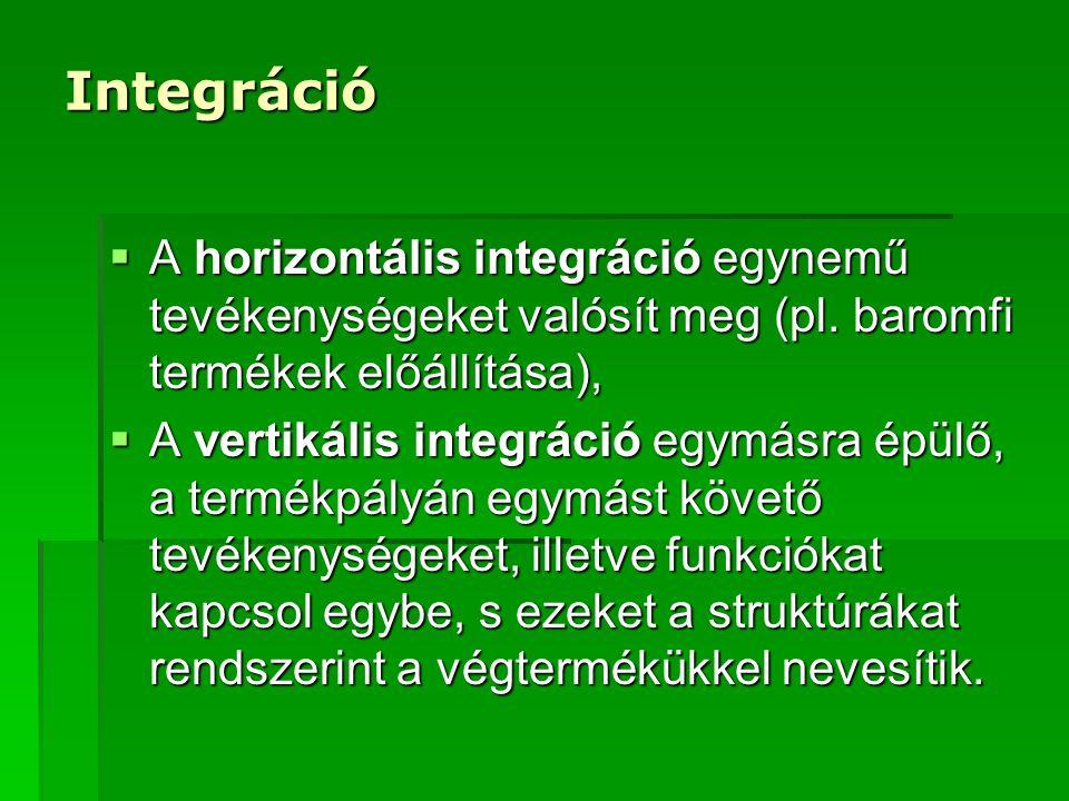 Integráció A horizontális integráció egynemű tevékenységeket valósít meg (pl. baromfi termékek előállítása),