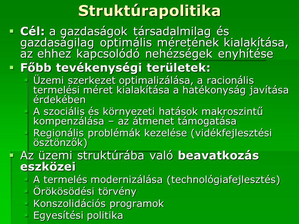Struktúrapolitika Cél: a gazdaságok társadalmilag és gazdaságilag optimális méretének kialakítása, az ehhez kapcsolódó nehézségek enyhítése.