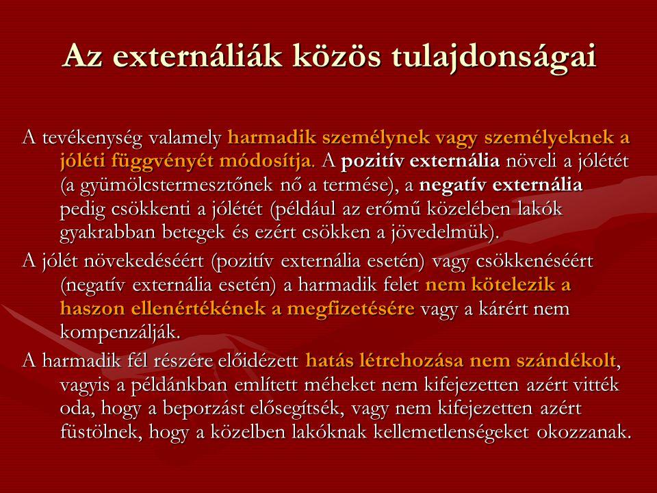 Az externáliák közös tulajdonságai