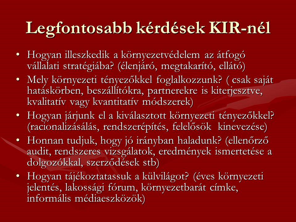 Legfontosabb kérdések KIR-nél