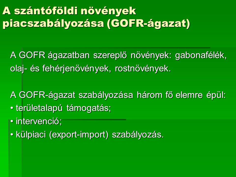A szántóföldi növények piacszabályozása (GOFR-ágazat)