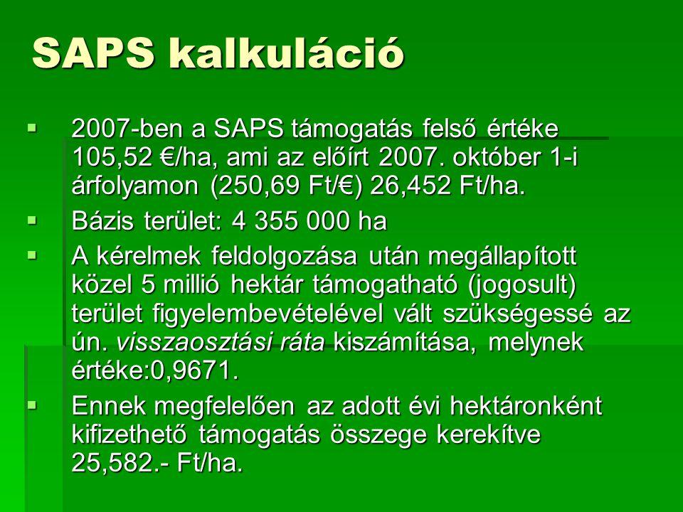 SAPS kalkuláció 2007-ben a SAPS támogatás felső értéke 105,52 €/ha, ami az előírt 2007. október 1-i árfolyamon (250,69 Ft/€) 26,452 Ft/ha.
