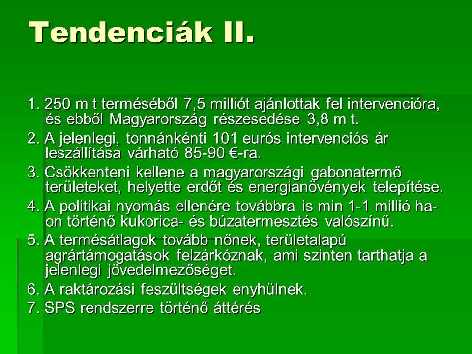 Tendenciák II. 1. 250 m t terméséből 7,5 milliót ajánlottak fel intervencióra, és ebből Magyarország részesedése 3,8 m t.