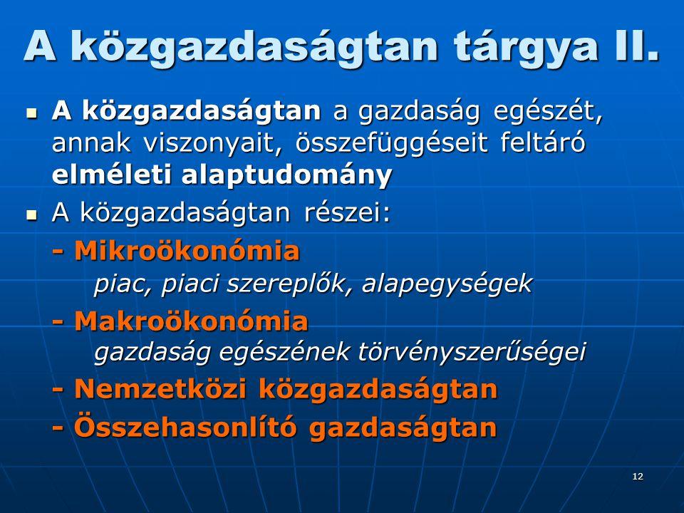 A közgazdaságtan tárgya II.