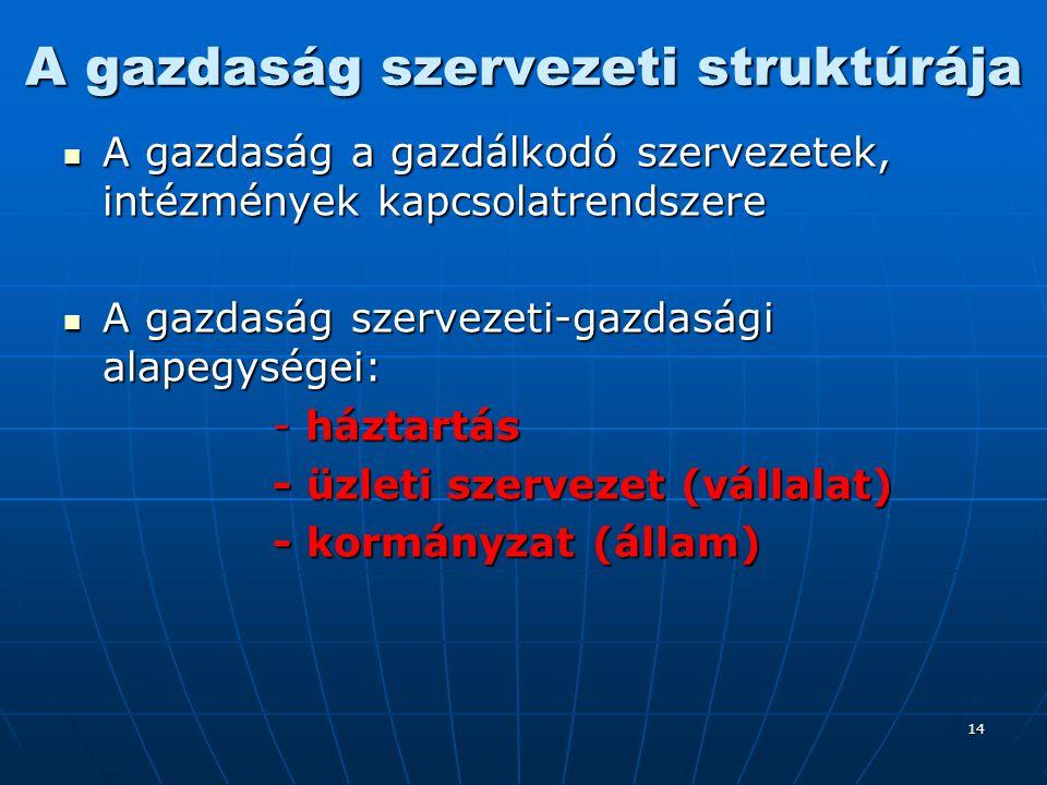 A gazdaság szervezeti struktúrája