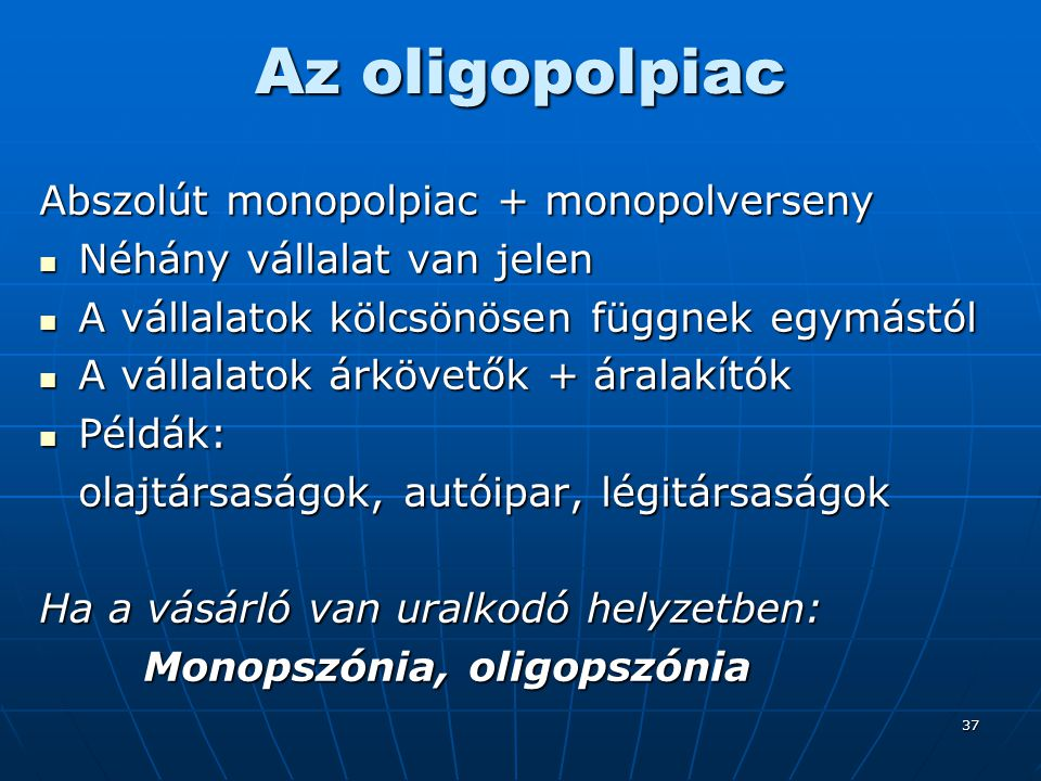 Az oligopolpiac Abszolút monopolpiac + monopolverseny