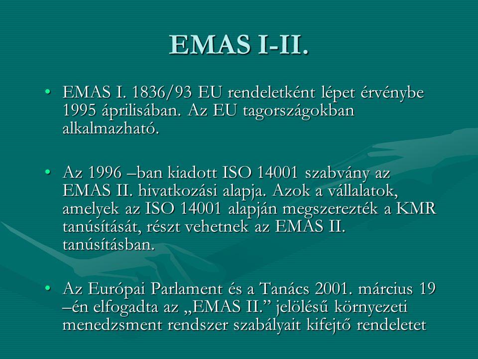 EMAS I-II. EMAS I. 1836/93 EU rendeletként lépet érvénybe 1995 áprilisában. Az EU tagországokban alkalmazható.