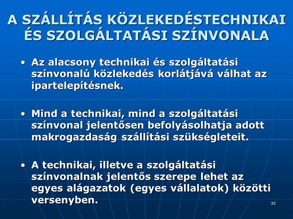 A SZÁLLÍTÁS KÖZLEKEDÉSTECHNIKAI ÉS SZOLGÁLTATÁSI SZÍNVONALA