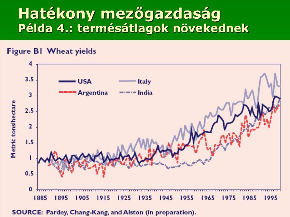 Hatékony mezőgazdaság Példa 4.: termésátlagok növekednek