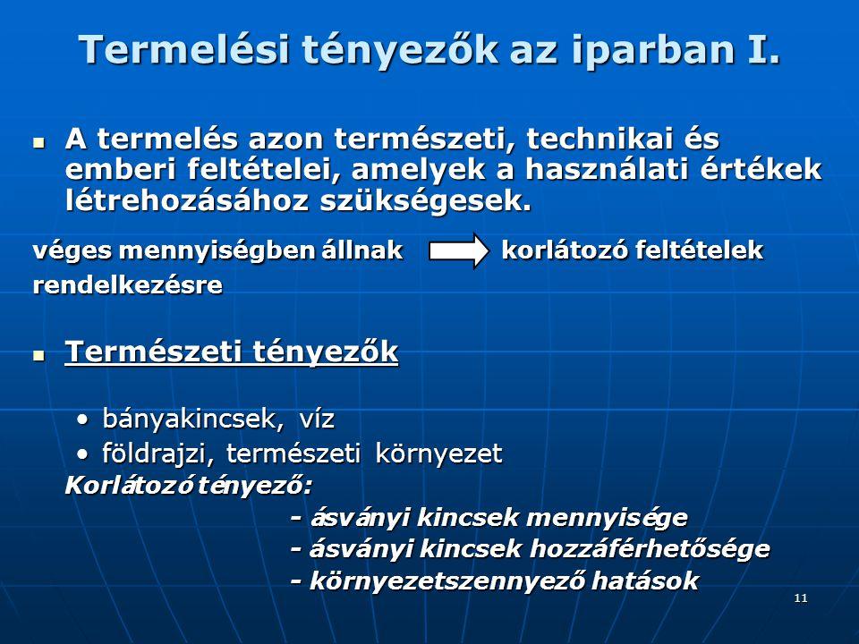 Termelési tényezők az iparban I.