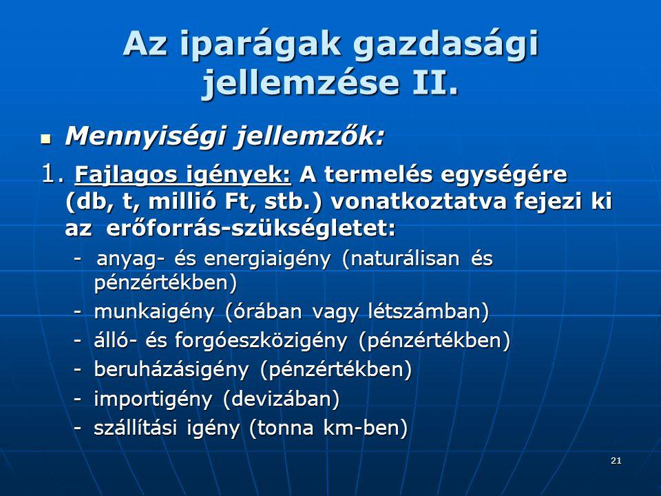 Az iparágak gazdasági jellemzése II.