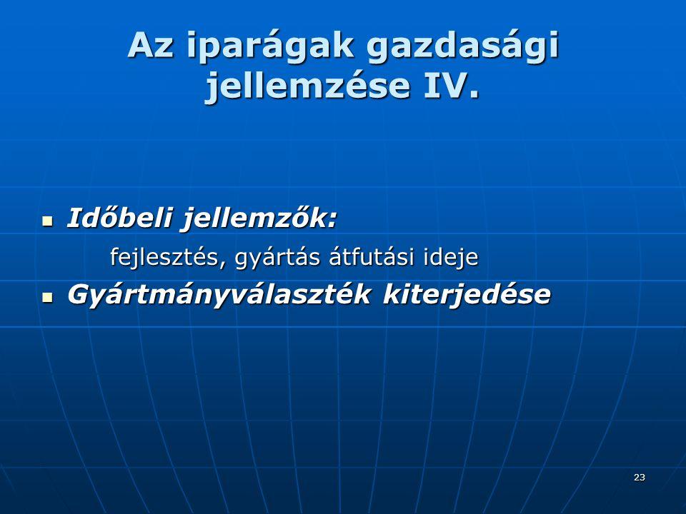 Az iparágak gazdasági jellemzése IV.