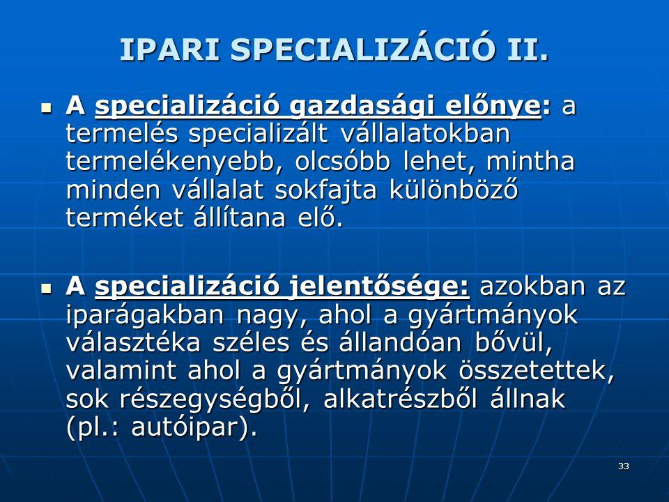 IPARI SPECIALIZÁCIÓ II.
