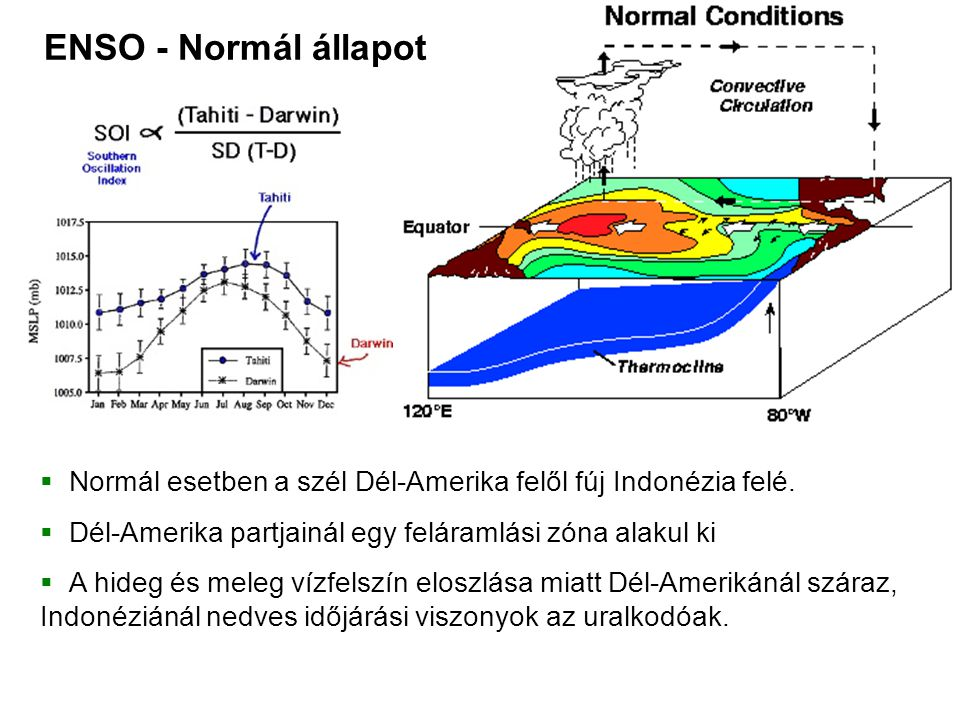ENSO - Normál állapot Normál esetben a szél Dél-Amerika felől fúj Indonézia felé. Dél-Amerika partjainál egy feláramlási zóna alakul ki.