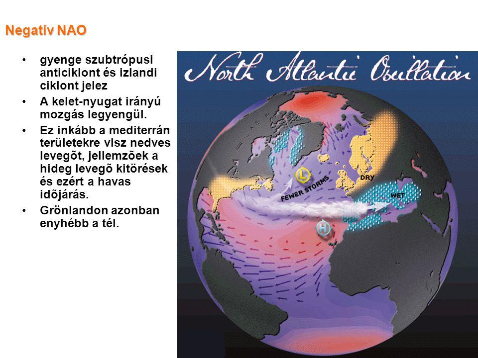 Negatív NAO gyenge szubtrópusi anticiklont és izlandi ciklont jelez