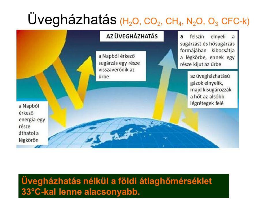 Üvegházhatás (H2O, CO2, CH4, N2O, O3, CFC-k)