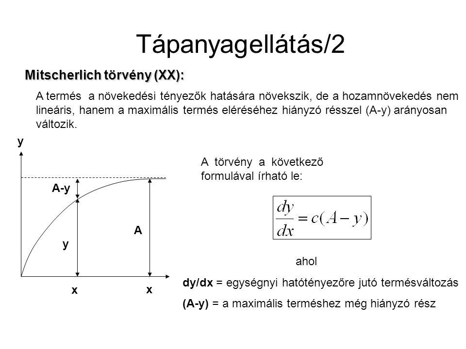 Tápanyagellátás/2 Mitscherlich törvény (XX):