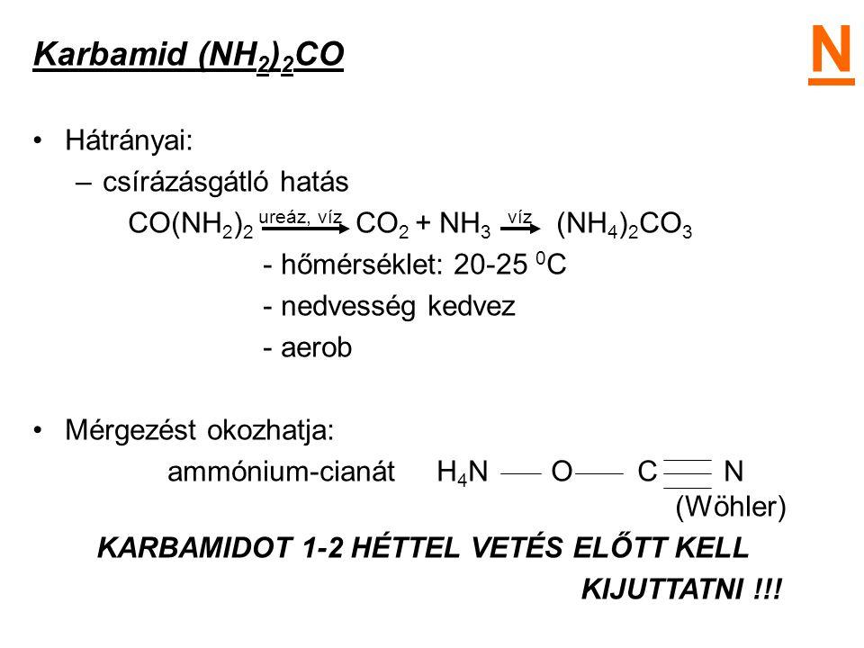 N Karbamid (NH2)2CO Hátrányai: csírázásgátló hatás