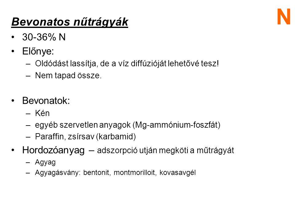 N Bevonatos nűtrágyák 30-36% N Előnye: Bevonatok: