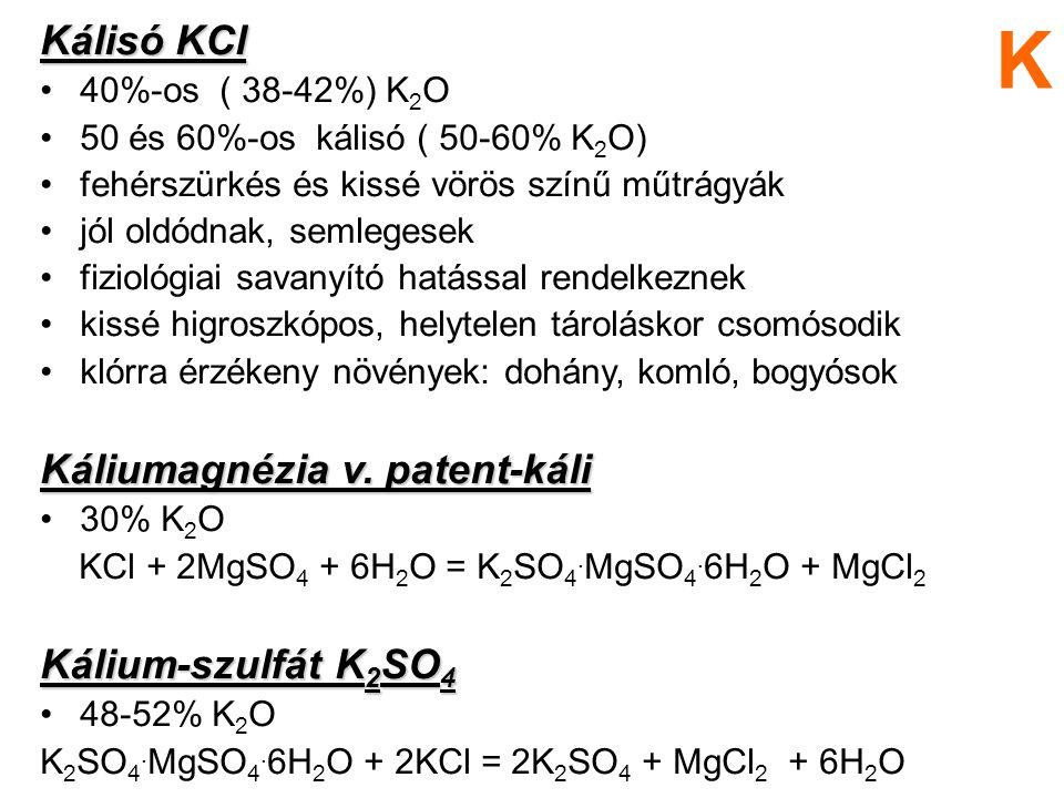 K Kálisó KCl Káliumagnézia v. patent-káli Kálium-szulfát K2SO4