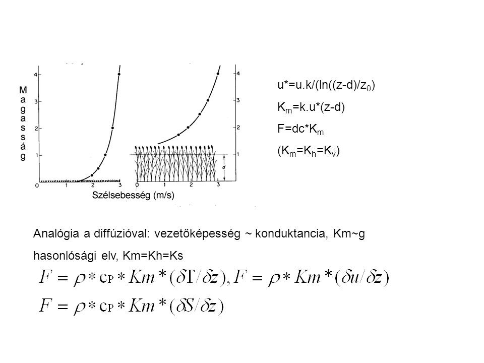 u*=u.k/(ln((z-d)/z0) Km=k.u*(z-d) F=dc*Km. (Km=Kh=Kv) Analógia a diffúzióval: vezetőképesség ~ konduktancia, Km~g.