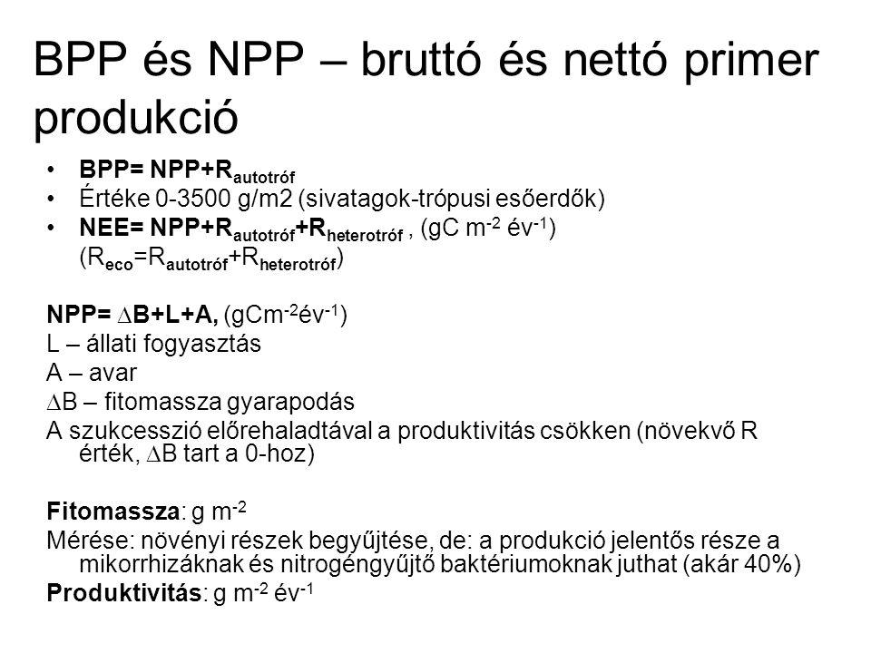 BPP és NPP – bruttó és nettó primer produkció