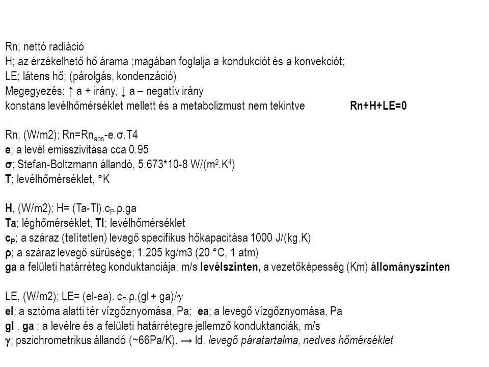 Rn; nettó radiáció H; az érzékelhető hő árama ;magában foglalja a kondukciót és a konvekciót; LE; látens hő; (párolgás, kondenzáció)