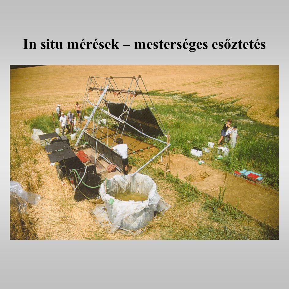 In situ mérések – mesterséges esőztetés