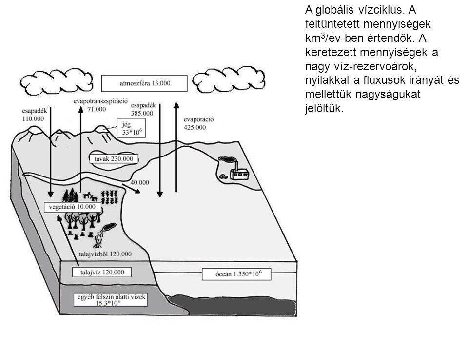 A globális vízciklus. A feltüntetett mennyiségek km3/év-ben értendők