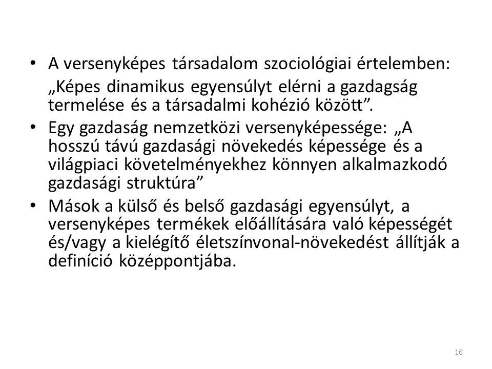A versenyképes társadalom szociológiai értelemben: