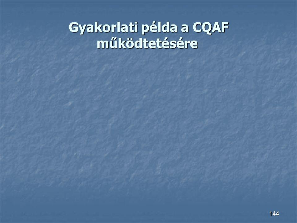 Gyakorlati példa a CQAF működtetésére