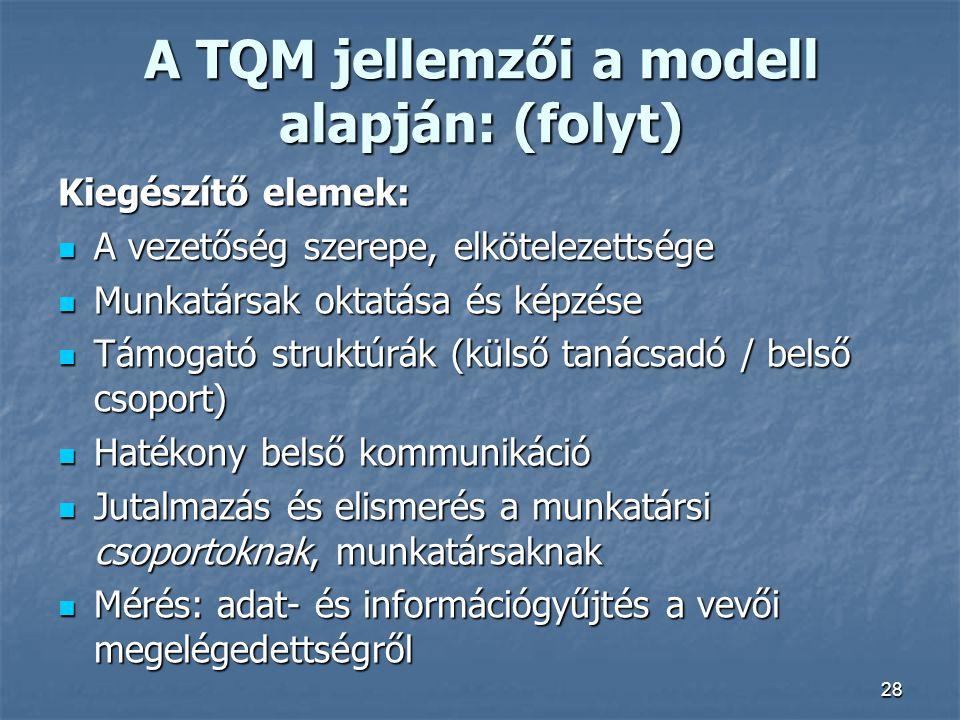 A TQM jellemzői a modell alapján: (folyt)