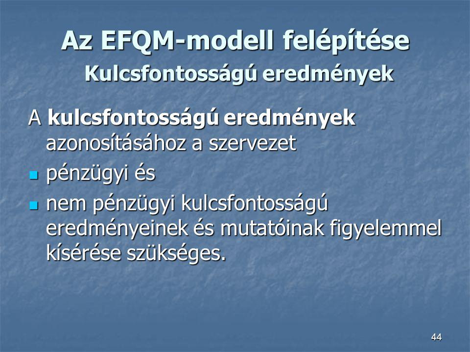 Az EFQM-modell felépítése Kulcsfontosságú eredmények