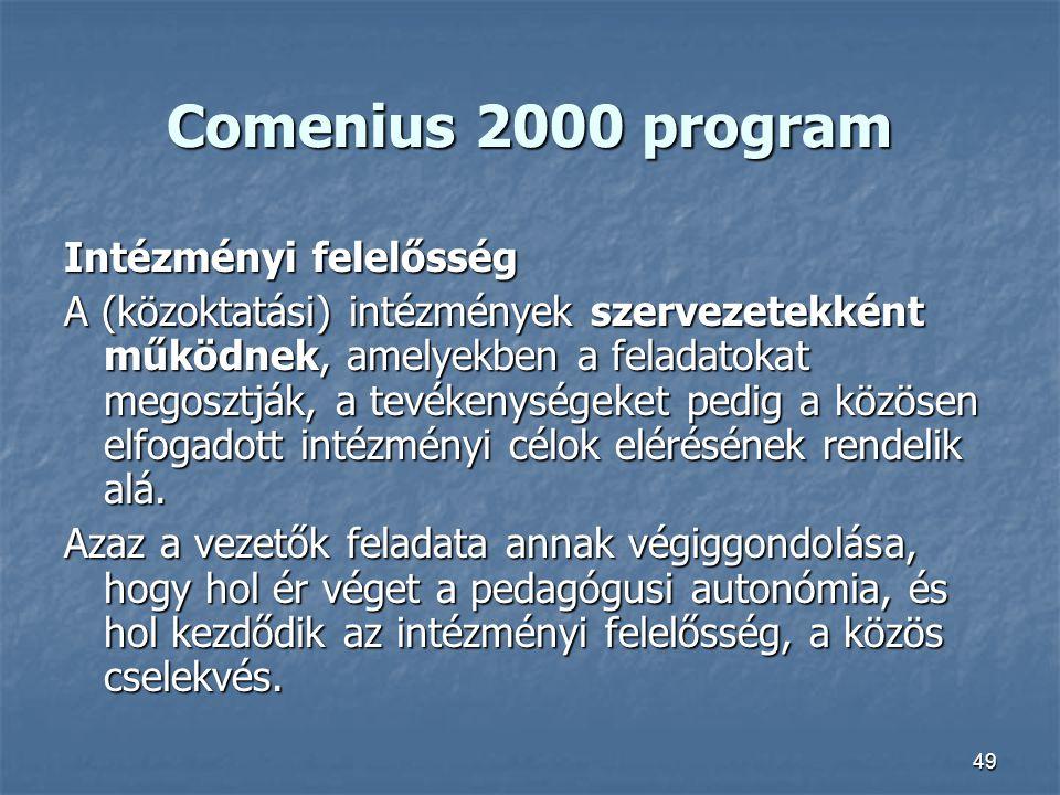 Comenius 2000 program Intézményi felelősség