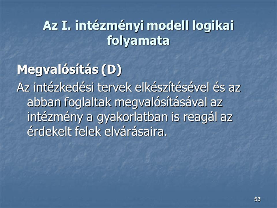 Az I. intézményi modell logikai folyamata