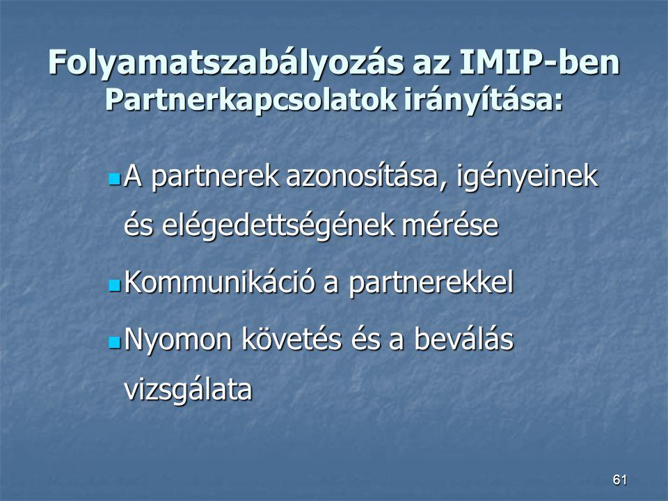 Folyamatszabályozás az IMIP-ben Partnerkapcsolatok irányítása: