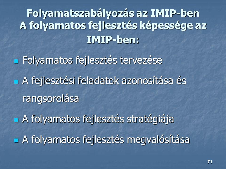 Folyamatszabályozás az IMIP-ben A folyamatos fejlesztés képessége az IMIP-ben: